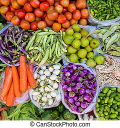 Colorful fresh fruits and vegetable