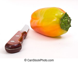 Colorful fresh peppers isolated on white background