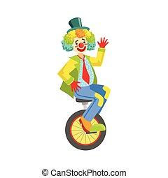 Colorful Friendly Clown With Rainbow Wig In Classic Outfit