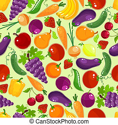 Colorful fruit and vegetables seamless pattern with a scattered vector design of assorted summer veggies and tropical fruit in square format for wallpaper fabric and tiles