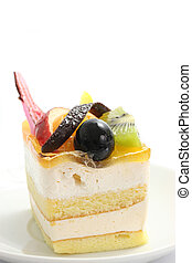 colorful fruit cake isolated in white background