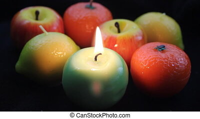 Colorful fruit candles