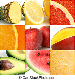 Colorful fruit collage