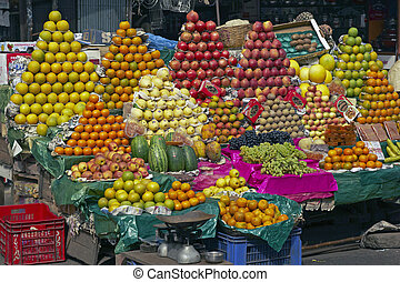 Colorful Fruit Display - Colorful display of fresh fruit on...