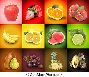 A mosaic variety of colorful fruit squares. There are strawberries, bananas, grapes, peaches, watermelon and more.