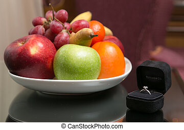 Colorful fruit in a bowl on the table