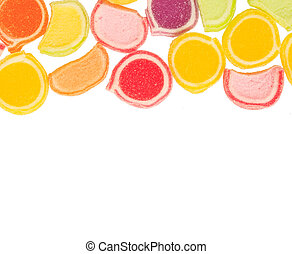 colorful fruit jelly candies on white background