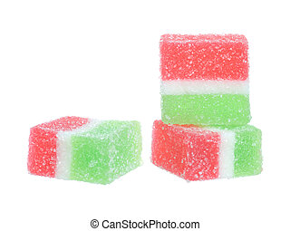 colorful fruit-paste sweets isolated on white