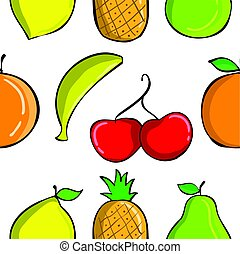 Colorful fruit pattern collection style