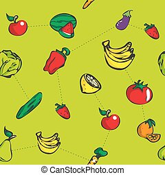 Colorful fruit seamless pattern