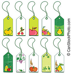 Colorful fruit tags.