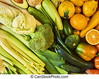 Colorful fruits and vegetables background. Rainbow collection