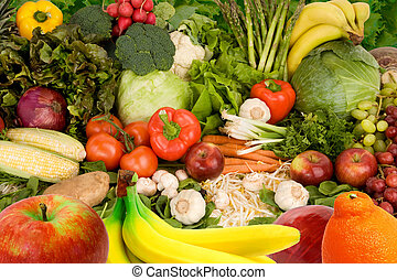 This is a display of various fruits and vegetables