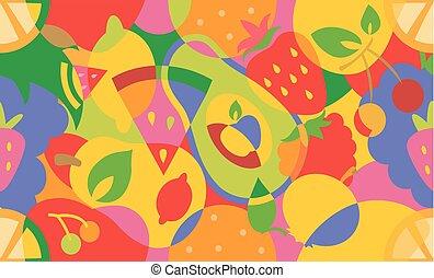 Colorful Fruits Seamless Background Illustration