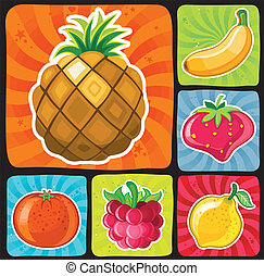 Colorful fruity icons set 1 - 6 sweet ripe fruits and...