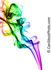 Colorful Fume abstract shapes on white