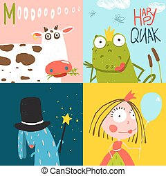 Colorful Fun Cartoon Hand Drawn Animals Greeting Cards for Kids