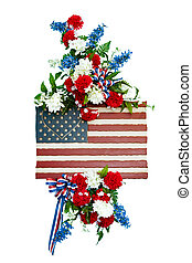Colorful funeral flower arrangement with patriotic design