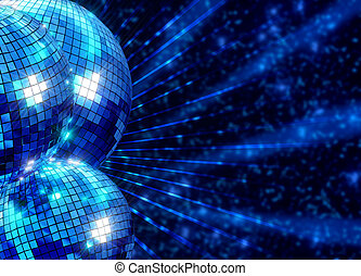Colorful funky background with mirror disco balls - Colorful...