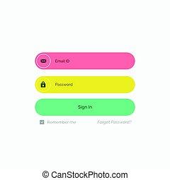 colorful funky member login form template design