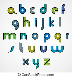 Colorful funny binary cartoon font with rounded lower case...