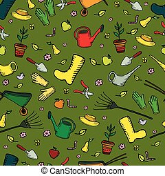 Colorful funny cartoon garden seamless pattern, on a green backg