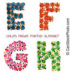 colorful funny paint alphabet e,f,g,h letters