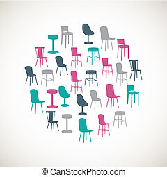 Colorful furniture icons - chairs - Set of colorful...