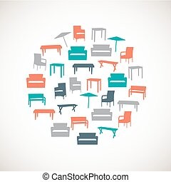 Colorful furniture icons - outdoor