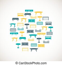 Colorful furniture icons - table - Set of colorful furniture...