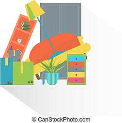 Colorful furniture. Moving to new home flat style illustration.
