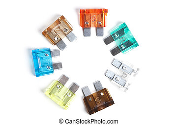 Colorful fuses on a white background