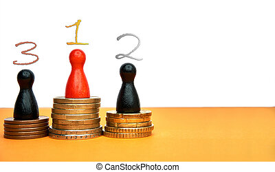 Colorful game figures symbolize a winners podium with money - with copyspace and numbers. Concept for sport or business.