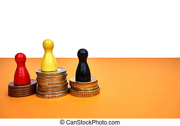 Colorful game figures symbolize a winners podium with money - with copyspace.