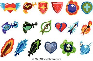 Colorful game interface elements. Heart with wings, bottles with potions, defense shields, magic arrows, bombs, and swords. Cartoon flat vector icons