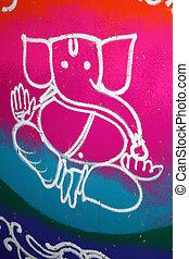 Colorful Ganesha Rangoli