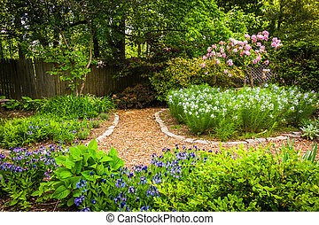 Colorful garden at Cylburn Arboretum, Baltimore, Maryland.