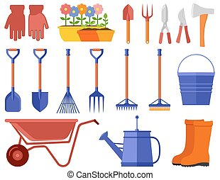 colorful garden icons set