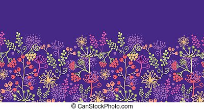 Colorful garden plants horizontal seamless pattern background border