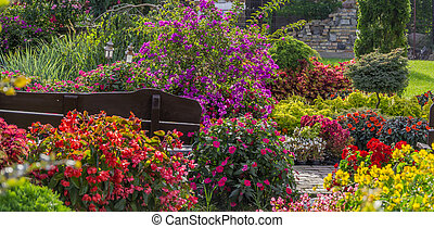 Spring green garden bathed in colorful flowers