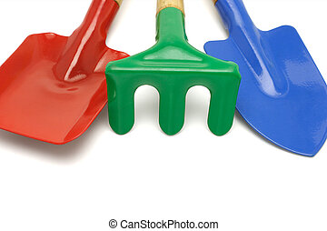 Colorful garden tools with copy space