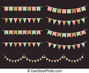 Colorful Garlands on black backgrou