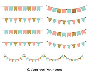 Colorful Garlands on white backgrou