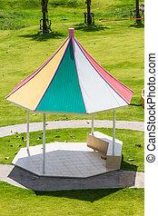 Colorful gazebo in the garden