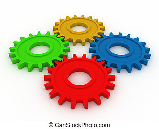 colorful gears. 3d work concept