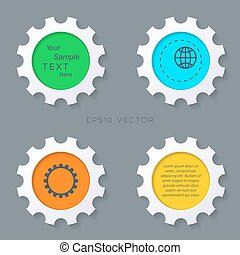 Colorful gears buttons with shadows