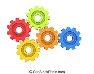 Colorful gears - front view - isolated on white background