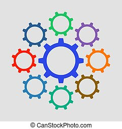 Colorful gears icon in flat design. Vector illustration