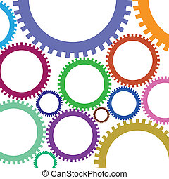 Colorful gears - Illustration set of colored gears of...