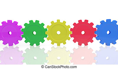 Colorful Gears - Image of colorful gears isolated on a white...